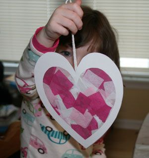 Tissue paper heart craft.  Use contact paper. Easy craft. Toddlers could even do it.