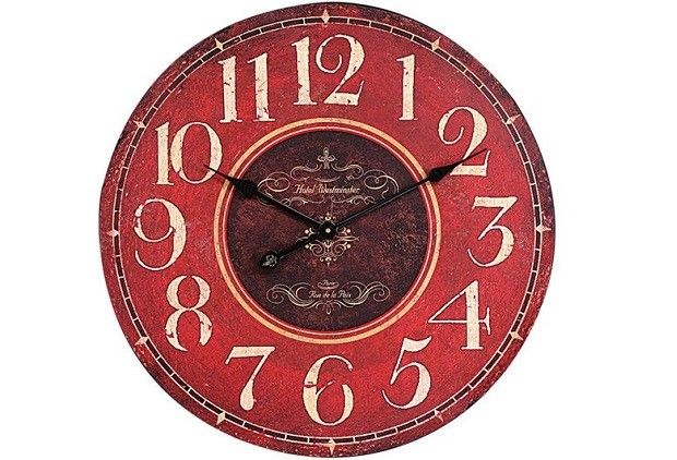 Large Round Red Wall Clock - From Antiquefarmhouse.com - http://www.antiquefarmhouse.com/current-sale-events/country-kitchen-decor/large-round-red-wall-clock.html