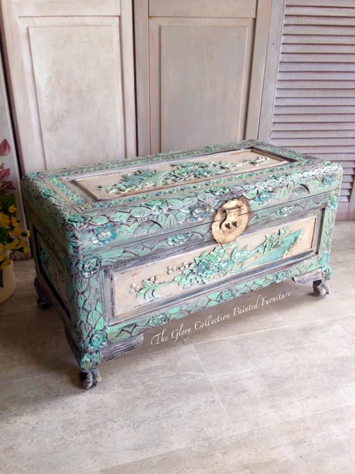 painted camphor chest . Painted and foiled. by Sharleen..The Glory Collection Painted Furniture. https://www.facebook.com/media/set/?set=a.1286218361438737.1073742177.501388179921763&type=3