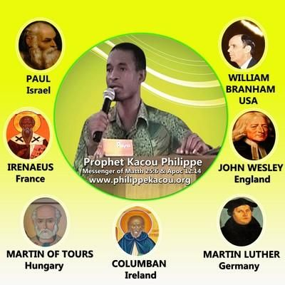 According to the Bible, Mat 23:34-35, the Lord promised He will still send some Prophets like those of the Bible. Thus, after Asia (the East) Europe and America (the West) with William Branham, comes black night, Africa, according to Mat. 24:27, 31 in which God sends an African Prophet from Ivory Coast to preach the Midnight Cry. This Message is addressed to Ewald Frank, Joseph Coleman, Donald Parnell, Billy Graham, Tommy Osborn, Joël Osteen, T.D. Jakes, Doug Batchelor, David Owuor, Emmanuel…