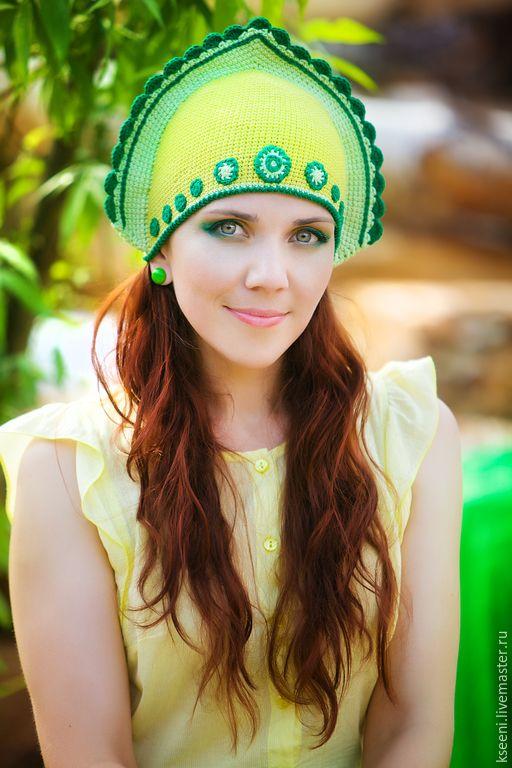 Купить Кокошник - кокошник, вязаная шапка, шапка крючком, зеленый, салатовый, желтый, летний, осенний