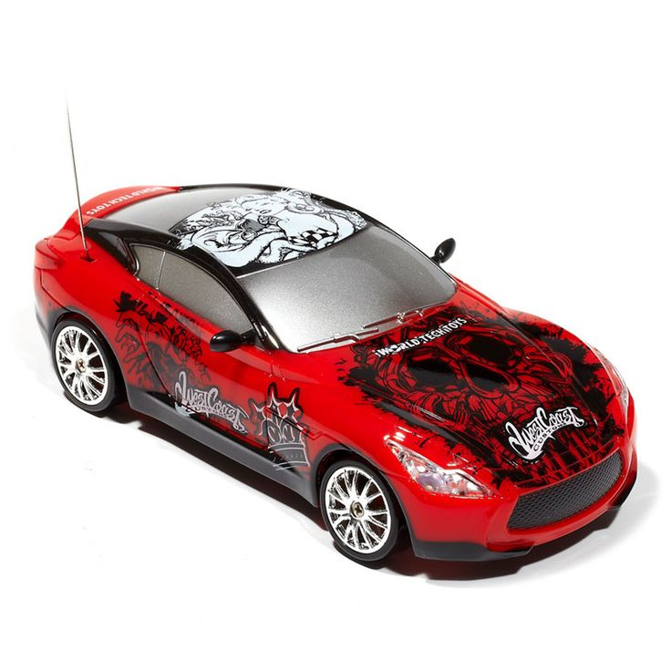 Extreme Drift 1:24 Remote Control Car in Red Roll in style with the licensed West Coast Customs tuner-style Extreme Ryders 1:24 RTR RC Car! This car is decked out in West Coast Customs Graphics for that unique and stylish look; This RC car features a full functioning radio control that allows you to steer the car in any direction; With its full function transmitter, four wheel drive and special plastic drift tires, you