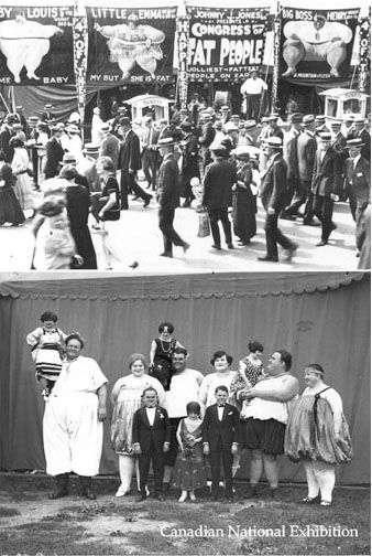 """CCT0005 - CNE, Toronto c1913. Johnny J. Jones presents the Congress of Fat People (above) at the Midway. The """"Congress"""" cast (below) featuring Big Boss Henry, Little Emma, and Baby Louis."""