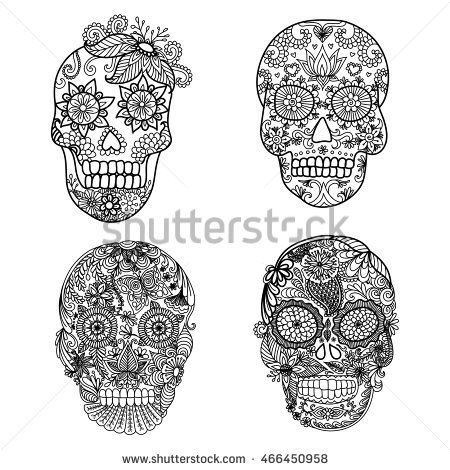 Lines Art Design Of Unique Floral Skulls For Adult Coloring Pagestattoo Element Halloween Cards Or Invitations