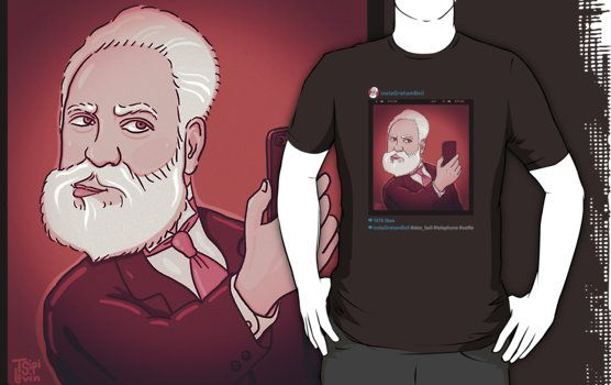 instaGrahamBell for dark background T-Shirts \ by TsipiLevin    Alexander Graham Bell taking a selfie