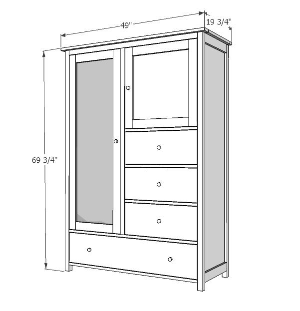 Ana White Build A Mirrored Door Wardrobe Free And Easy Diy Project And Furniture Plans