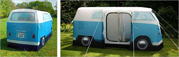 VW Tent? Badass. I like how they note that this is NOT an actual VW van.