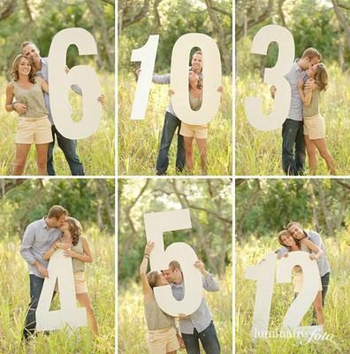 How cute is this? Photoshoot of a couple next to numbers. These can go in frames to sit on reception tables.
