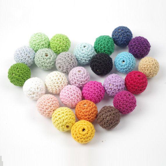 Crochet Beads Wholesale Bulk HandMade 30pc/lot 16mm Round Mix Colors Ball Knitting Baby Shower Ideas Girls