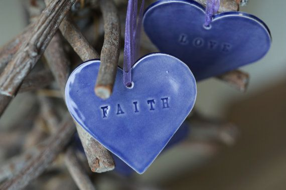 Wedding Favor Ceramic Purple Hearts Christmas by Ceraminic on Etsy