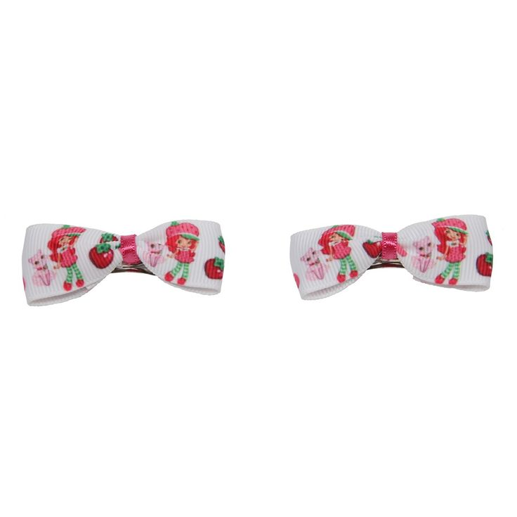 Classy Crafting | Beautiful handmade Blankets, Cardigans and Hair Accessories  - Strawberry Shortcake Bow Hair Clips, £3.00 (http://www.classycrafting.com/strawberry-shortcake-bow-hair-clips/)