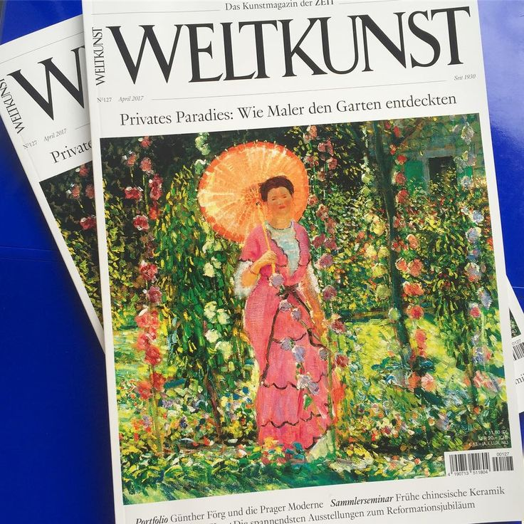 The April issue of #Weltkunst is out now: #Artists in the #Garden – an exploration, with our #cover image by American #impressionist Frederick Carl Frieseke, 1912/13. Also:  Kate Tempest on William Blake; discovering Günther #Förg's never seen before photographs from #Prague; Lucas #Cranach @museumkunstpalast #Düsseldorf; #collecting early #Chinese #ceramics; Otto Freundlich @museumludwig #Cologne; Pieter Hugo's #photography @kunstmuseumwolfsburg; #Venetian #painting @kunsthalle.hamburg…