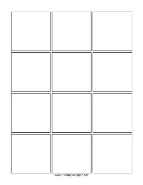 Boxes are about 2.5 inches.  This twelve box comic page is perfect for a large number of uniform images. Twelve evenly spaced boxes are provided for your comic story, taking up the full page. Free to download and print