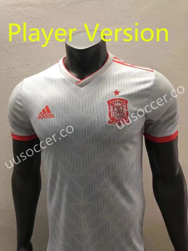 eba4cfbc7 Player version 2018 World Cup Spain Away Gray Thailand Soccer Jersey ...