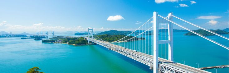 The Great Seto Bridgeis a series of double deck bridges connecting Okayama and Kagawa prefectures in Japan across a series of five small islands in the Seto Inland Sea