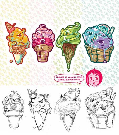 Party Crashers LIMITED EDITION print @ VanCAF 2015 // Ice Cream, Schooling Bosses