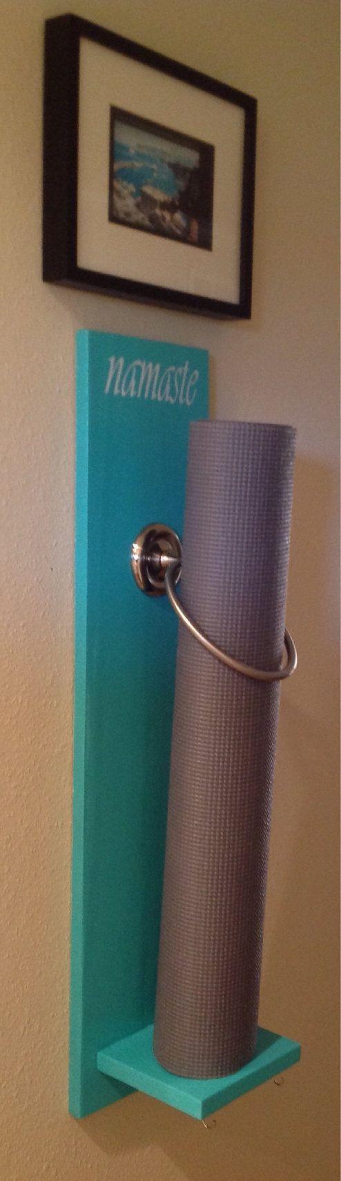 Yoga post on Yoga Mat Holder Yoga Blocks Handmade Yoga Mat Wall by MoodieArt