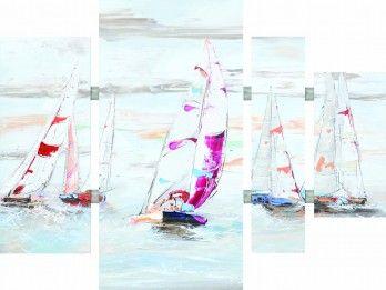4 luik schilderij zeilboten 80x109