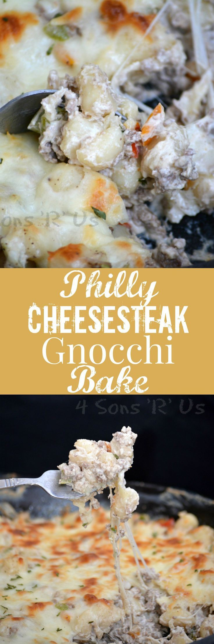 The flavors of your favorite sub sandwich are stirred into a simple skillet meal and studded with fluffy potato gnocchi and creamy cheeses. This Philly Cheesesteak Gnocchi Bake is sure to be a new dinner menu must-have.