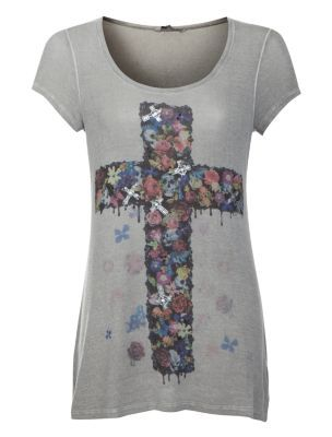 Grey Floral Skull Cross Longline T-Shirt