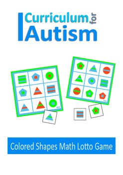 Autism colored shapes lotto game -This colored shapes lotto game is designed to help with recognizing shapes and colors and improving sorting and matching skills. It contains 2 boards and 18 cards to match.It can be played as a 2 player turn taking game, or as an individual matching activity.All the graphics used in our resources have been produced by my daughter.