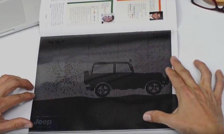 ジープ車といえばオフロードに強いイメージがある。 それを雑誌の広告上で表現するために、スリットアニメの手法が用いられた事例です。