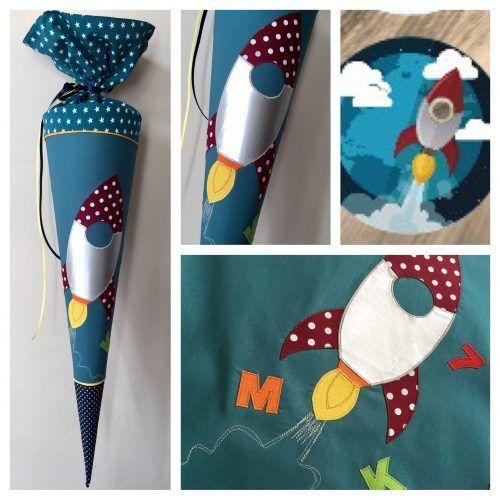 Schultüte aus Stoff Rakete, glänzender Stoff, Sterne und Buchstaben