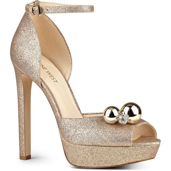 Nine West Vidah Platform Pumps ($40) ❤ liked on Polyvore featuring shoes, pumps, light gold glitter synthetic, high heeled footwear, nine west pumps, high heel platform pumps, nine west shoes and high heel shoes