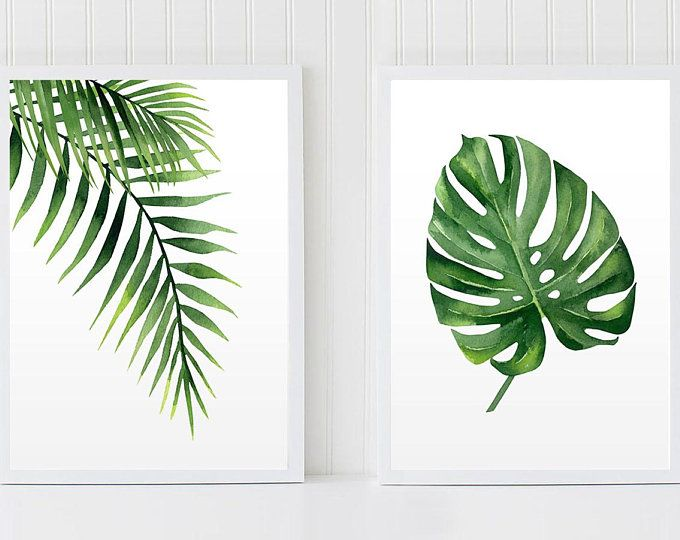 Tropical Set Palm Leaf Prints Monstera Art Set 2 Prints Nature