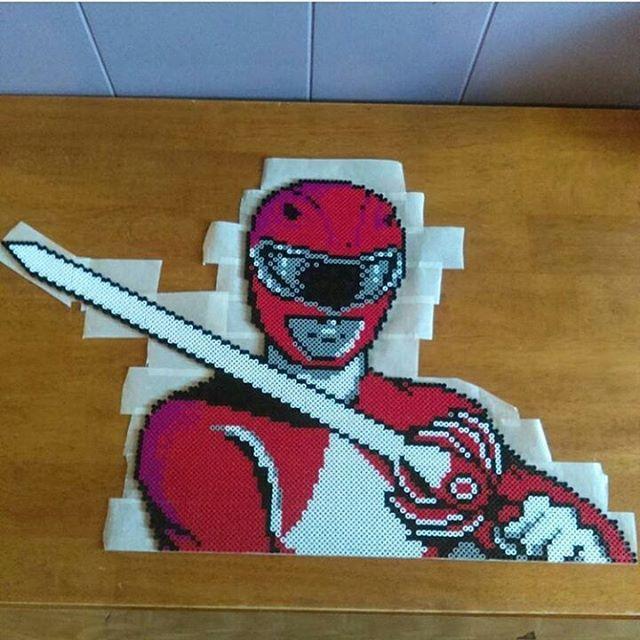 Power Rangers Red Ranger perler beads by World of Nerd Art
