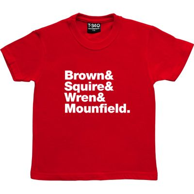 The Stone Roses Line-Up Red Kids' T-Shirt. Ian Brown, John Squire, Reni and Mani: Brown & Squire & Wren & Mounfield...