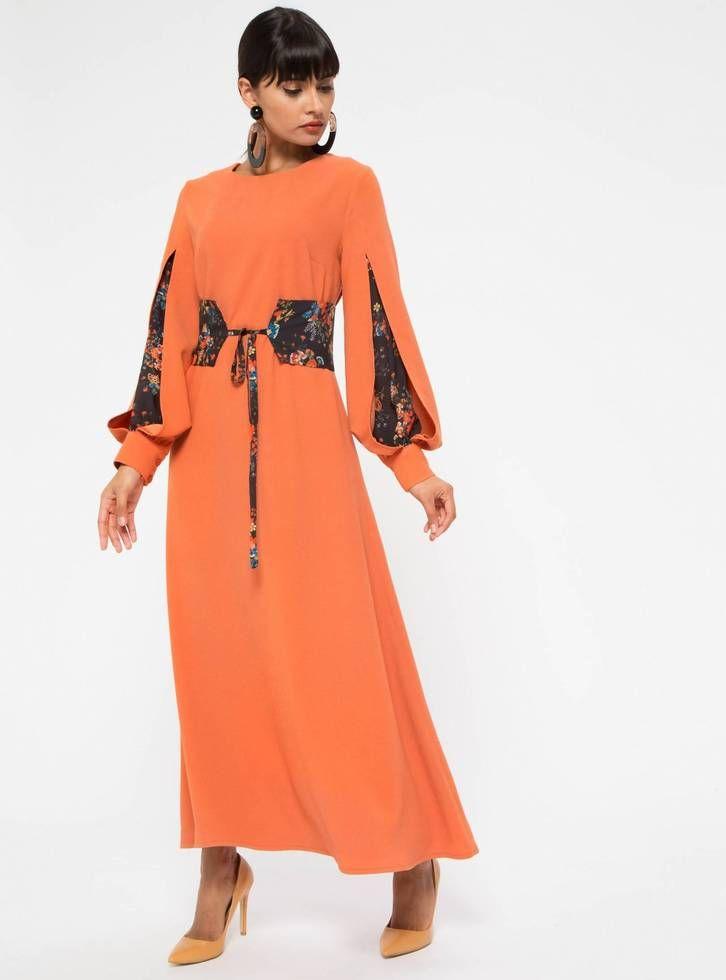 7a5a17ef774d Floral Insert Sleeve Orange Dress – HIJUP UK