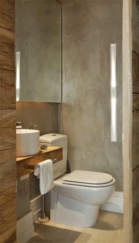 Jeito de Casa: 12 Banheiros e lavabos com porcelanato que imita madeira!!