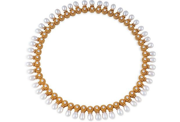 Pearl Drop Necklace - Vintage 18K yellow gold necklace with 52 round diamonds and 52 freshwater-pearl drop pearls. Total diamond weight is approximately 4.20 carats.  8,999