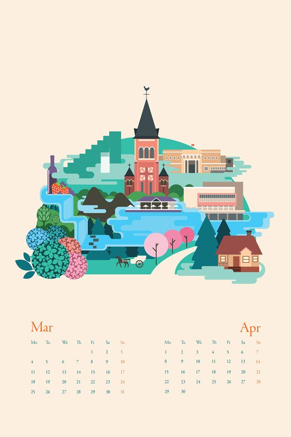 Hanoi to Saigon calendar illustrationsvietnam