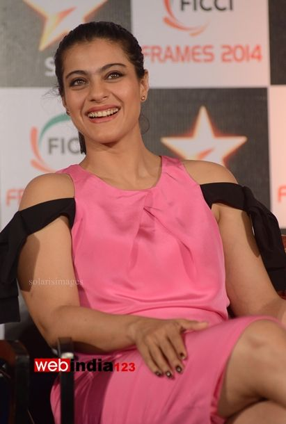 Bollywood actors Kajol Devgan during the Federation of Indian Chambers of Commerce and Industry (FICCI) Frames 2014, a three-day convention in Mumbai, India on March 12, 2014.