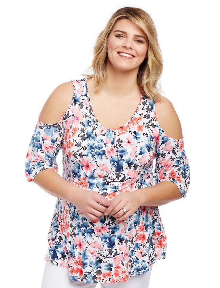 Plus Size Cold Shoulder Maternity Blouse | Motherhood Maternity