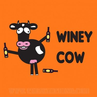 Winey Cow - Womens T-shirt or hoodie in a variety of colours size XS to XL