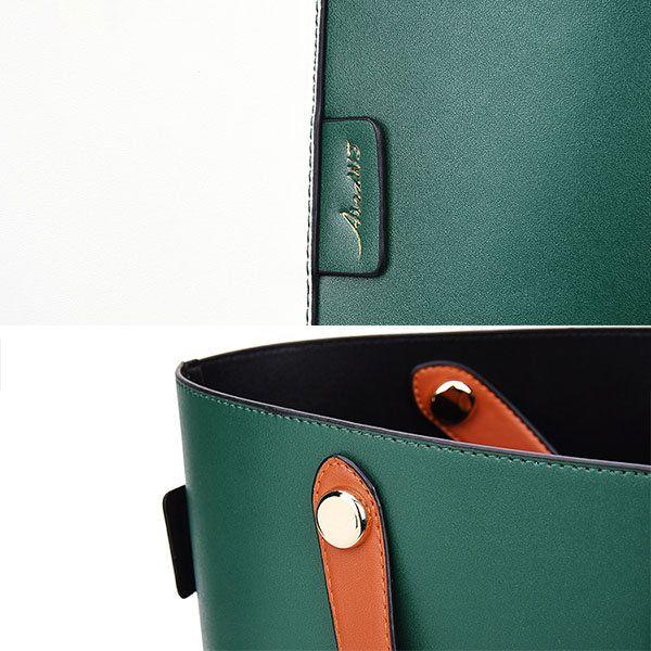 Women Contrast Color PU Leather Bucket Bag Handbag