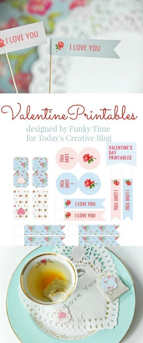 Valentines Day Printable | Free printables for a tea party. Tea bag tags and toothpick flags designed by FunkyTime for http://TodaysCreativeLife.com