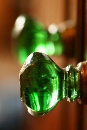 vintage green glass door knob
