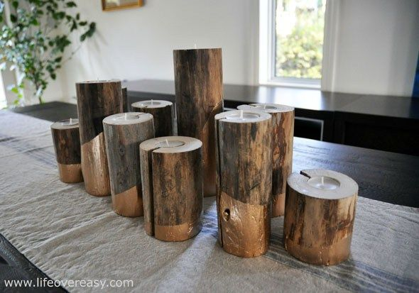 gold dipped log candle holders - use any color paint or wash