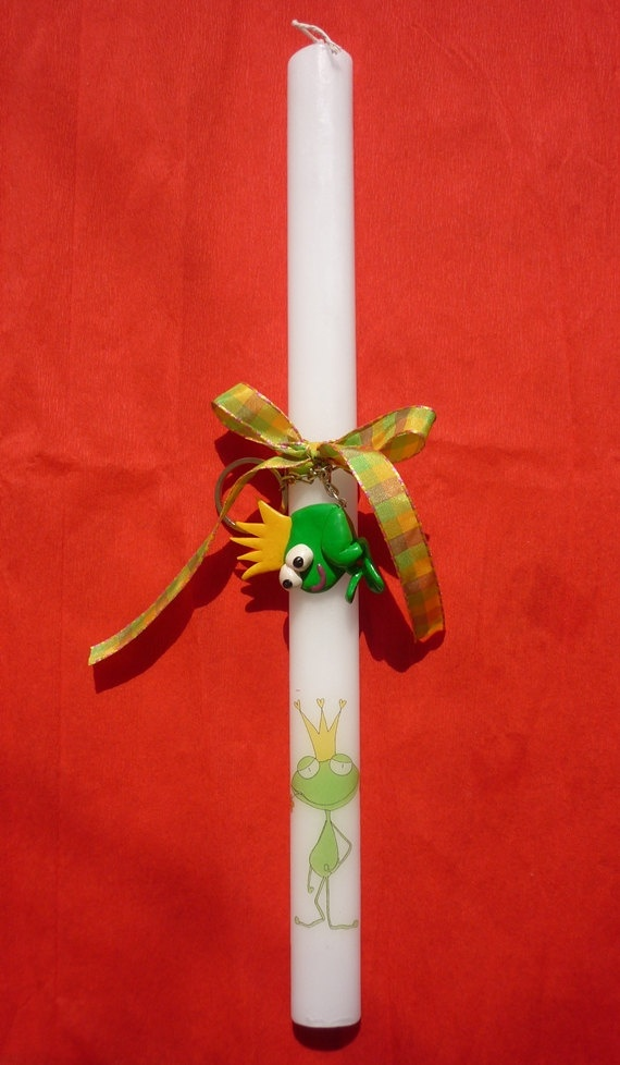 Prince Frog Easter candle  Easter candle with by despinART on Etsy, €28.00