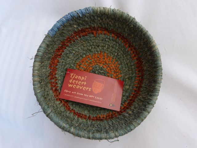 Tjanpi Desert Weavers Green & Orange Basket 20cm www.PacificArtisan.com
