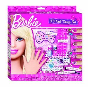 Barbie 3D Nail Design Kit by Barbie. $17.99. Pink and Purple Nail Polish with an extra sponge applicator brush for fine detail work. 40 pink and purple stick on gems plus loads of star and heart shaped sequins. One set of child-size stick-on acrylic nails with 12 different nail size options. Creative and unique nail designs are a hot trend and this is the perfect activity kit with endless creative possibilities. 40 ? 3D Nail Stickers, 131 Glitter Nail Stickers, and 10 Toys    Games …