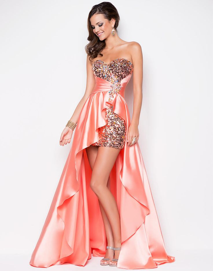 Flowy satin in a cocktail prom dress! A short beaded bustier defines your shape. Shiny satin drapes your silhouette in a high-low cascade. #alexiadress #blushdress #juniperdress #prom2013 #tangerine #satin #longshort #strapless #beading