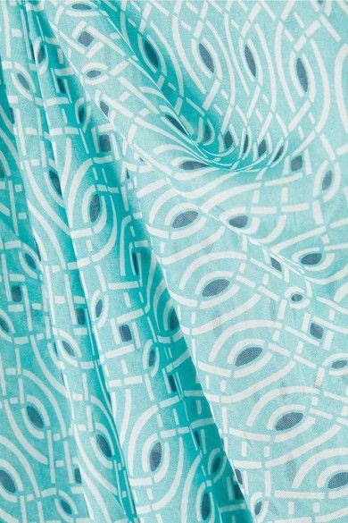 Paloma Blue - Cosmo Printed Silk Kaftan - Turquoise