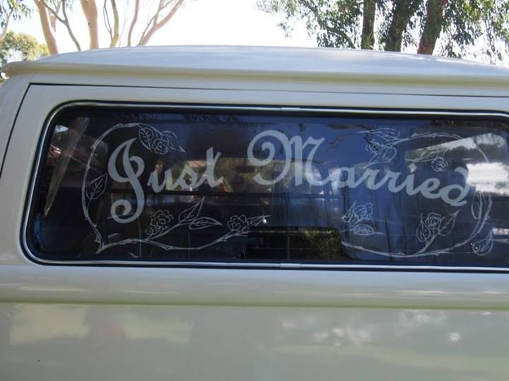 """""""Just Married"""" decal on the back of the Kombi"""