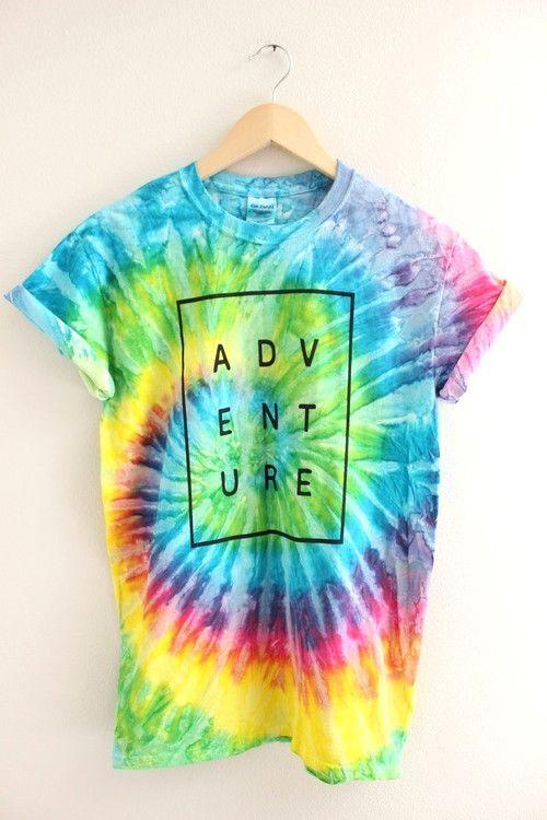 ADVENTURE Bright Rainbow Tie-Dye Graphic Unisex Tee