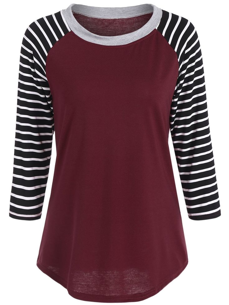 Raglan Sleeve Crew Neck Striped Tee in Red | Sammydress.com